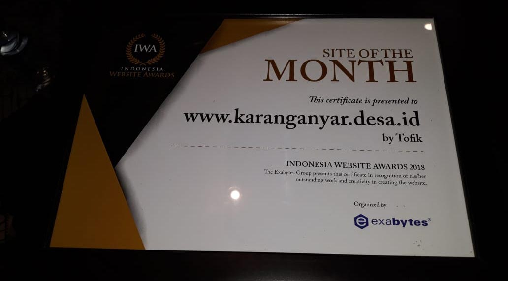 Desa Karanganyar medapat Penghargaa Indonesia Website Award 2018